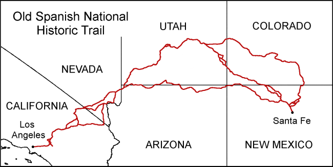 Map of the Old Spanish National Historic Trail showing the Armijo (Southern) Route, the Main Route, and the North Branch. Adapted from the National Park Service map published in 2009. - Wikipedia