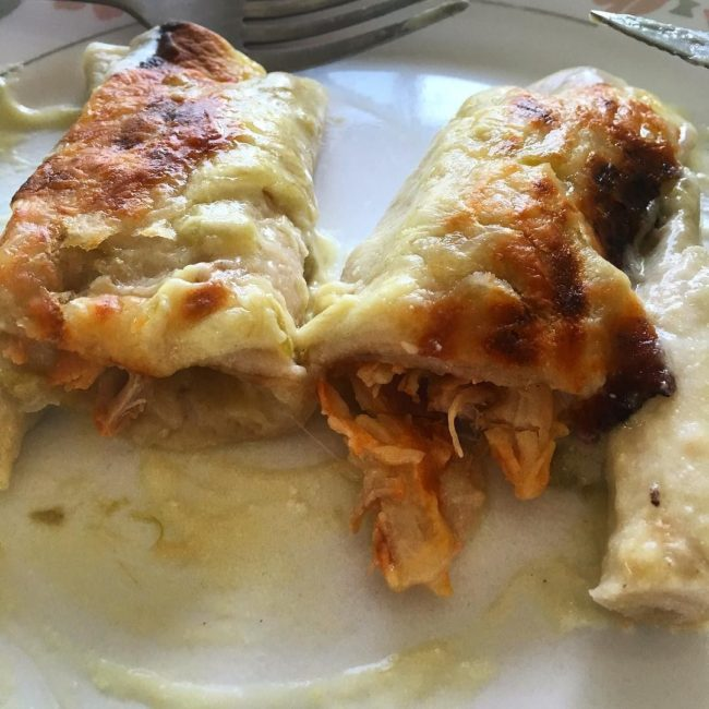 Green Chile Sour Cream Chicken Enchiladas by samanthabowdwin