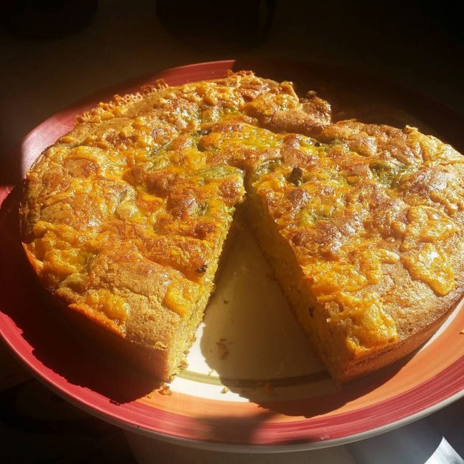 Cheesy New Mexico Green Chile Cornbread / Photo by Instagram user @jeni_fro